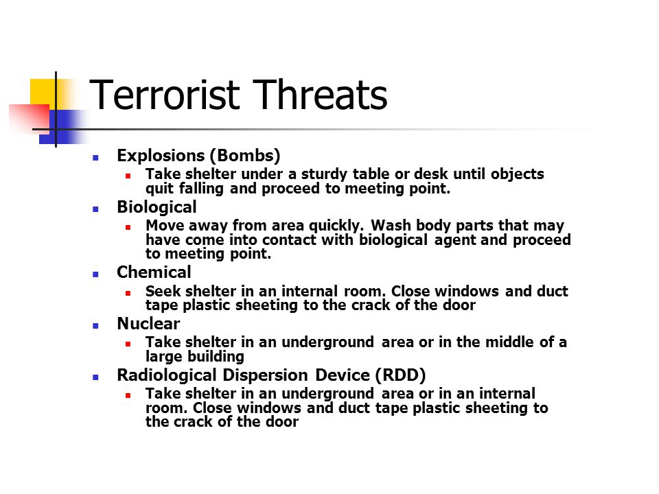Terrorist Threats Explosions (Bombs) Biological Chemical Nuclear
