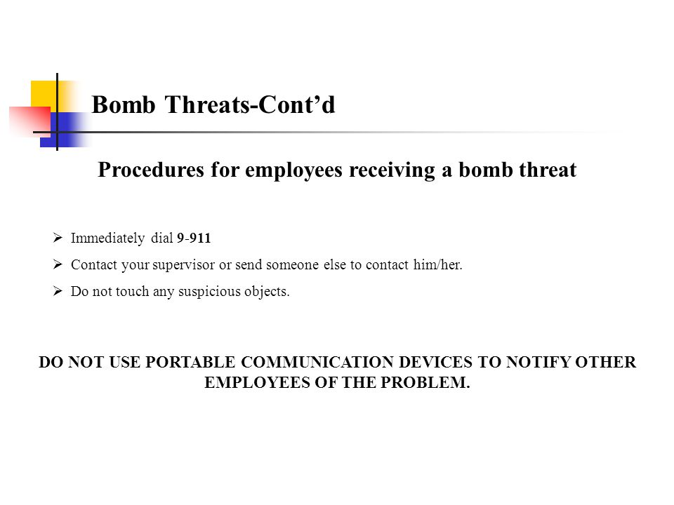 Procedures for employees receiving a bomb threat