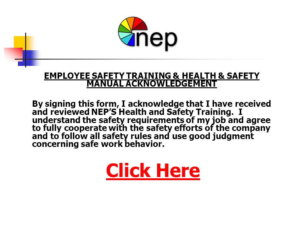 EMPLOYEE SAFETY TRAINING & HEALTH & SAFETY MANUAL ACKNOWLEDGEMENT
