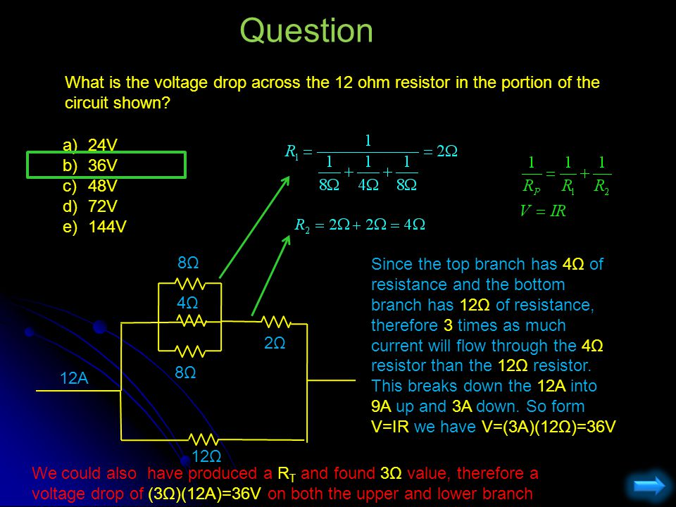 Question What is the voltage drop across the 12 ohm resistor in the portion of the circuit shown 24V.