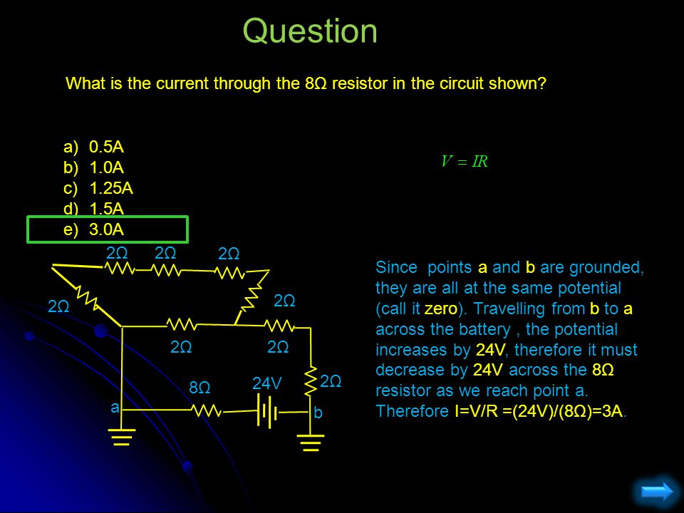 Question What is the current through the 8Ω resistor in the circuit shown 0.5A. 1.0A. 1.25A. 1.5A.