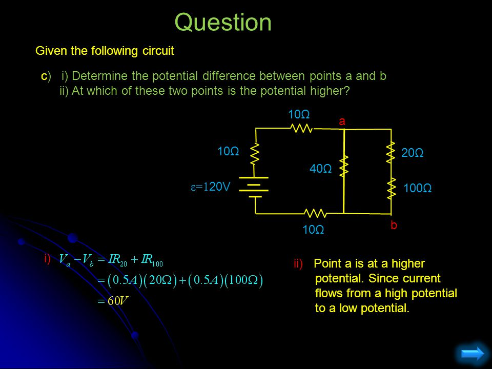 Question Given the following circuit