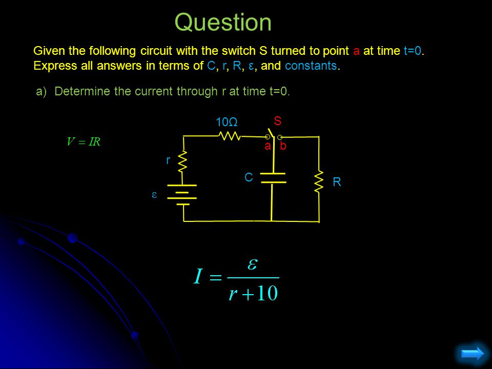 Question Given the following circuit with the switch S turned to point a at time t=0. Express all answers in terms of C, r, R, ε, and constants.