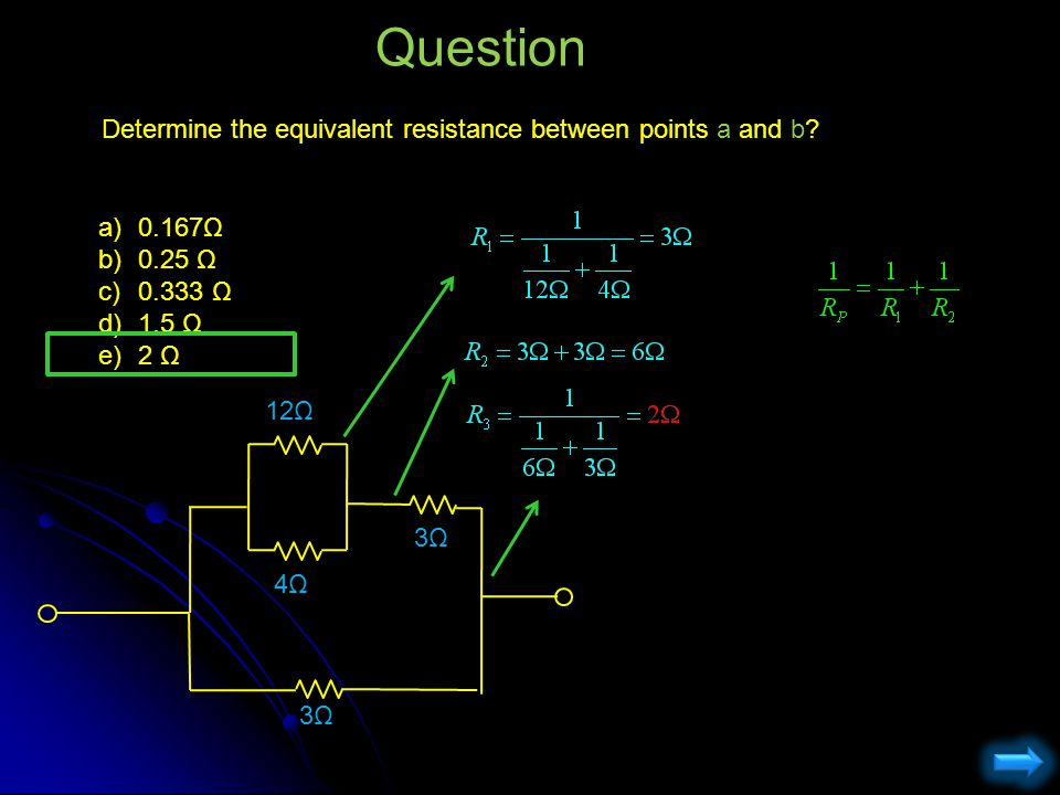Question Determine the equivalent resistance between points a and b