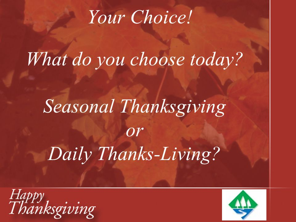 What do you choose today Seasonal Thanksgiving or