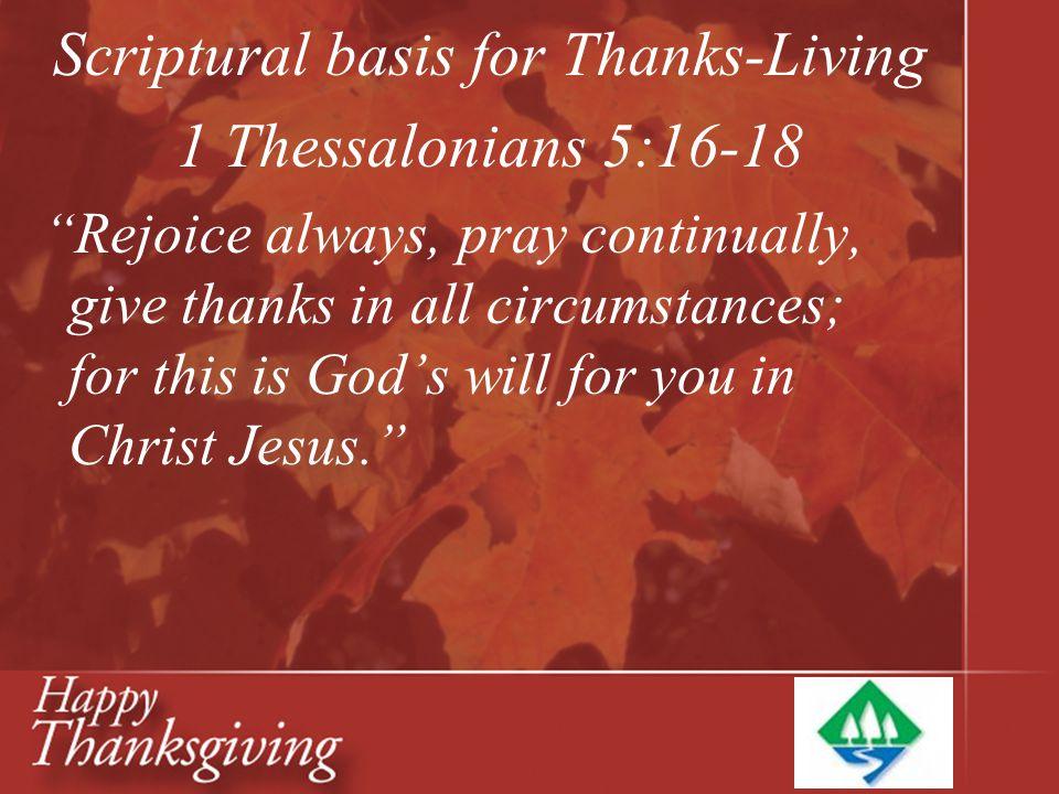 Scriptural basis for Thanks-Living