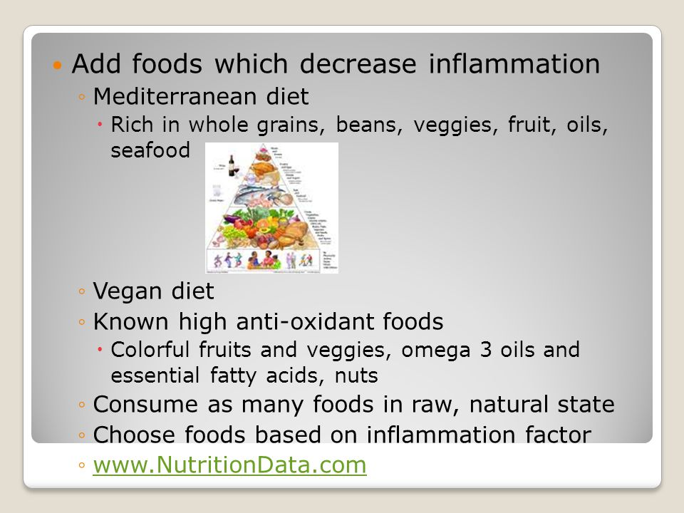 Add foods which decrease inflammation