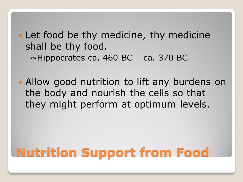 Nutrition Support from Food