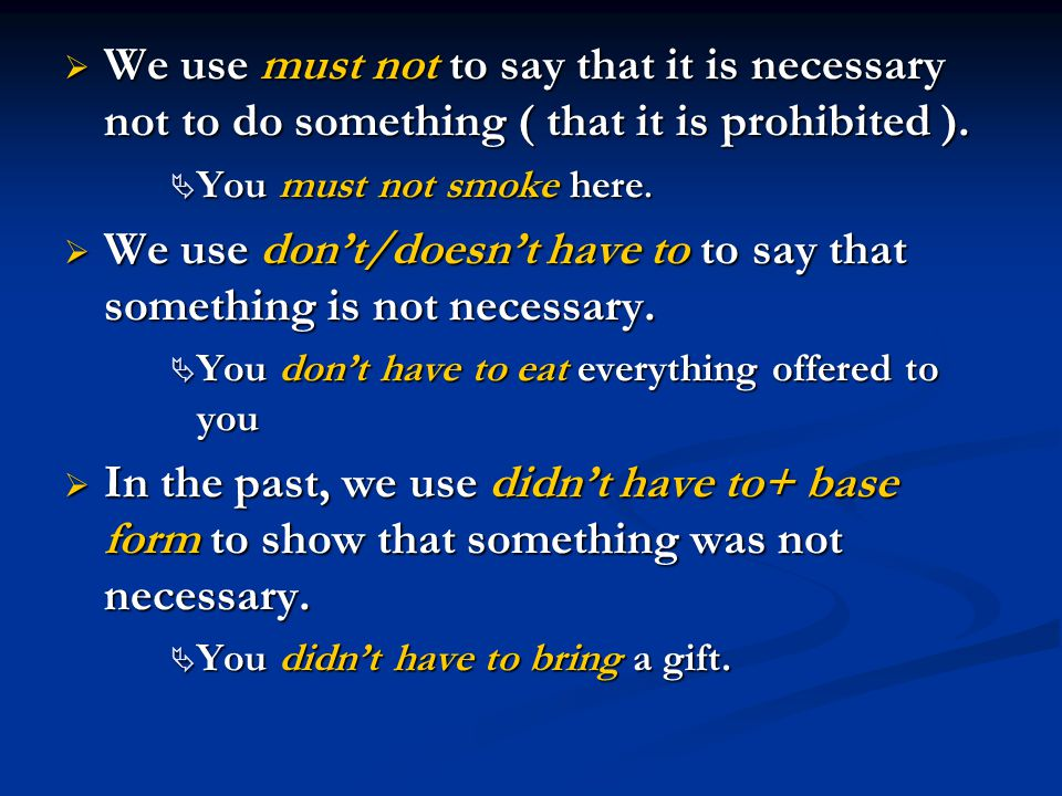 We use don't/doesn't have to to say that something is not necessary.