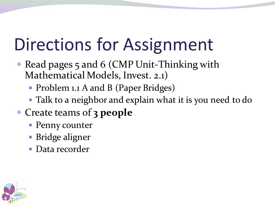 Directions for Assignment