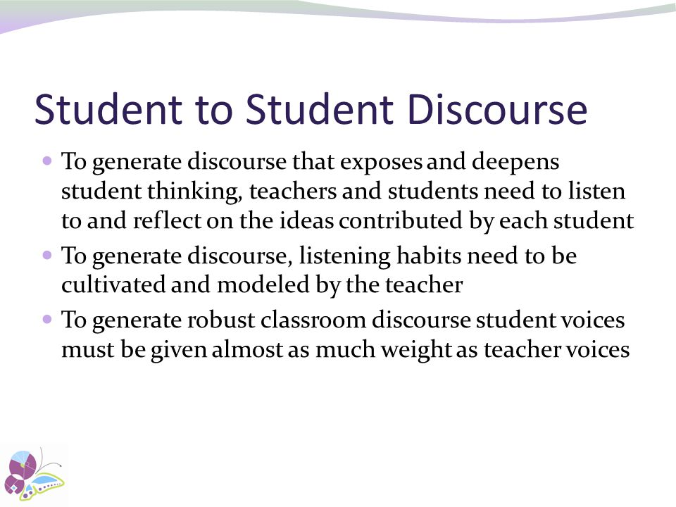 Student to Student Discourse