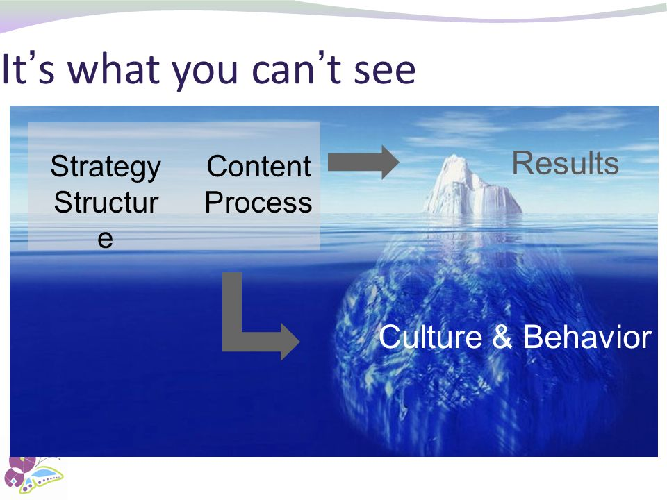 It's what you can't see Results Culture & Behavior Strategy Structure