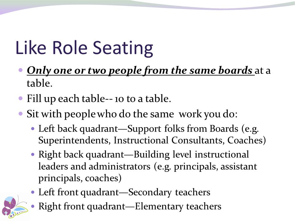 Like Role Seating Only one or two people from the same boards at a table. Fill up each table-- 10 to a table.