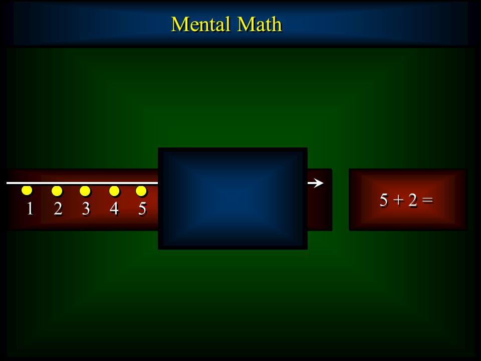 Mental Math 5 + 2 = 1 2 3 4 5 6 7 8 9 10