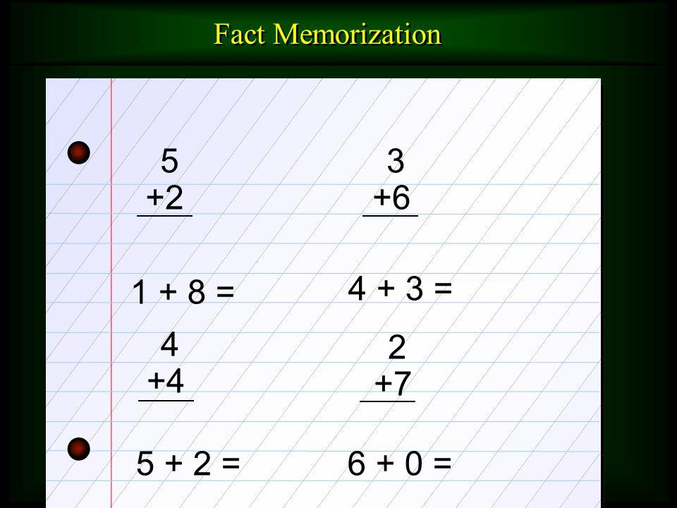 Fact Memorization 5 +2 3 +6 1 + 8 = 4 + 3 = 4 +4 2 +7 5 + 2 = 6 + 0 =
