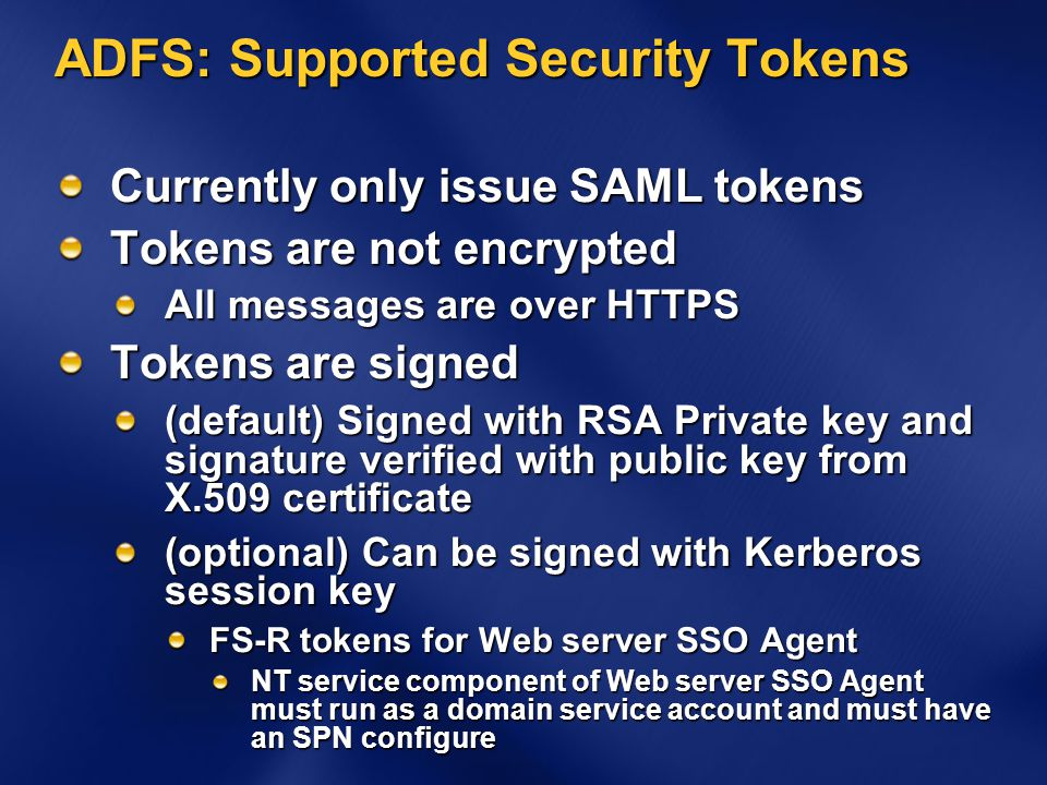 ADFS: Supported Security Tokens