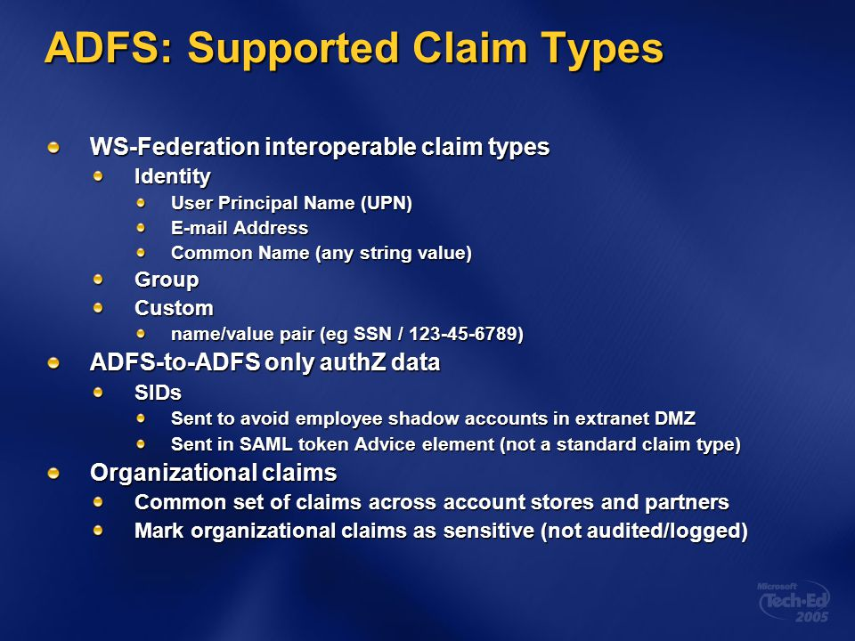 ADFS: Supported Claim Types