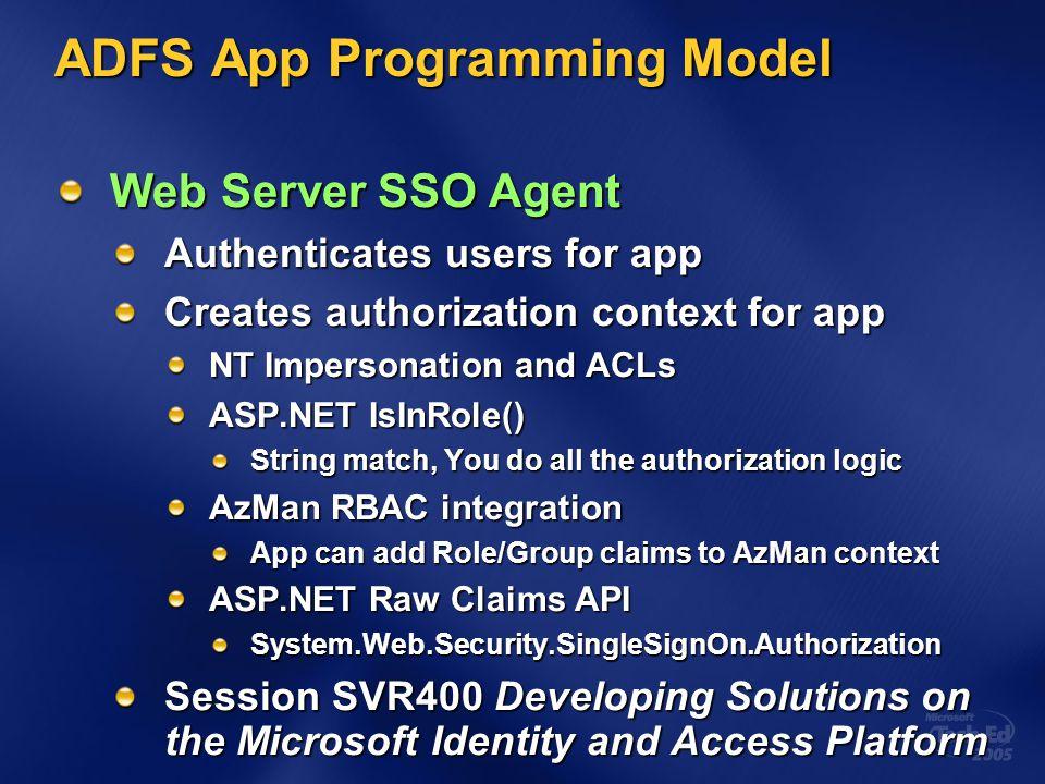 ADFS App Programming Model
