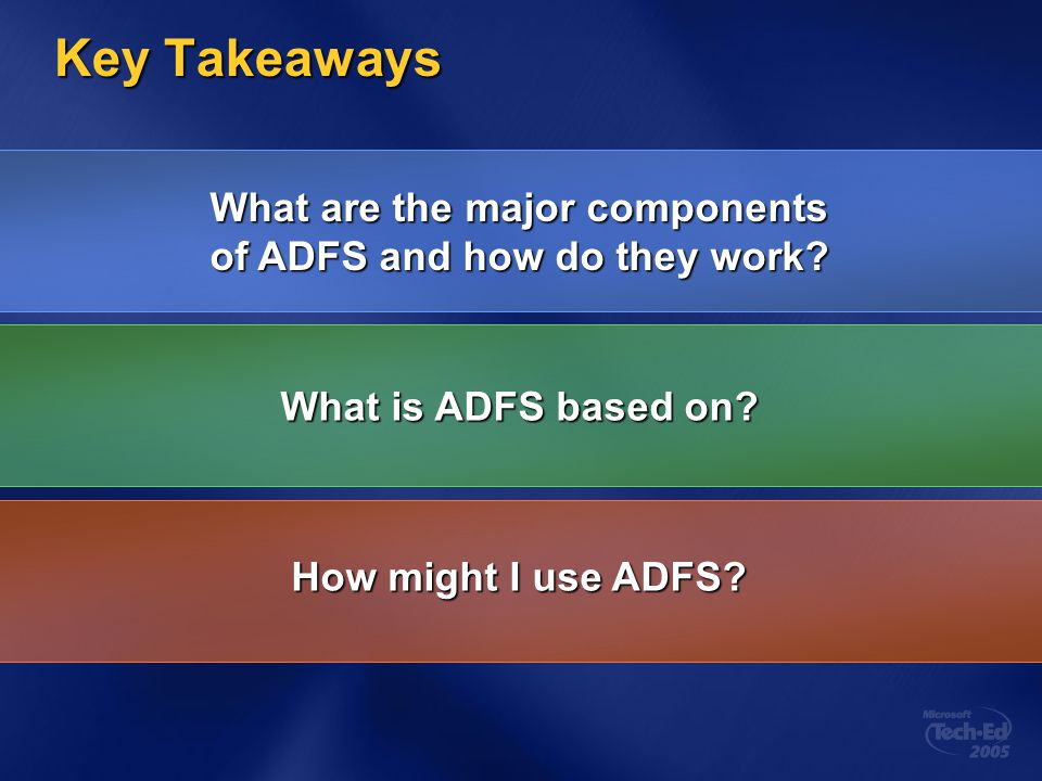 What are the major components of ADFS and how do they work