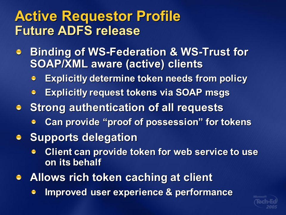 Active Requestor Profile Future ADFS release