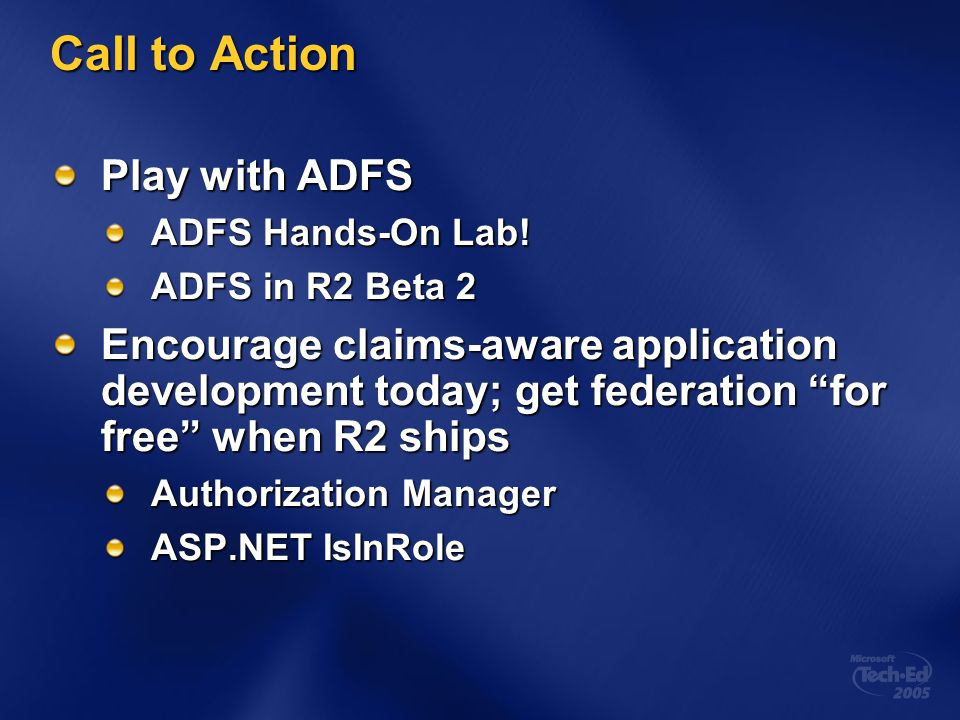 Call to Action Play with ADFS