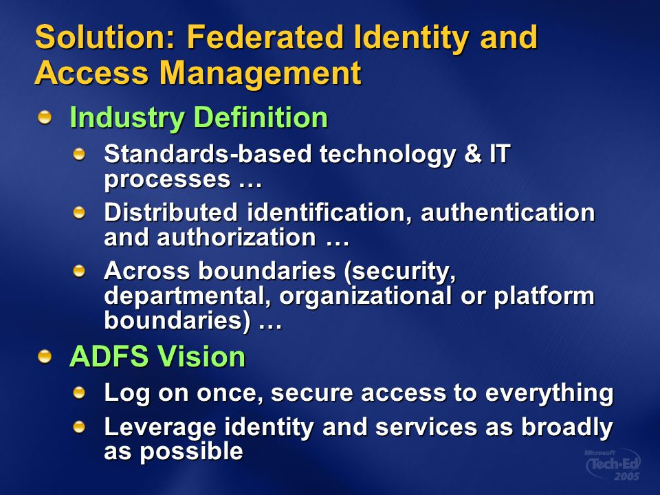 Solution: Federated Identity and Access Management