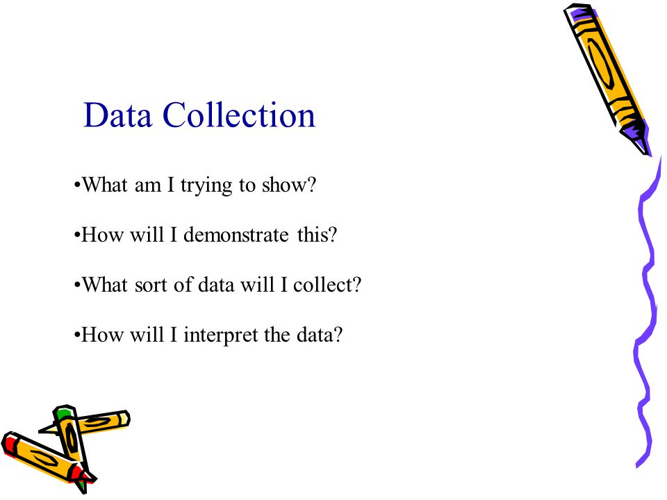 Data Collection What am I trying to show How will I demonstrate this