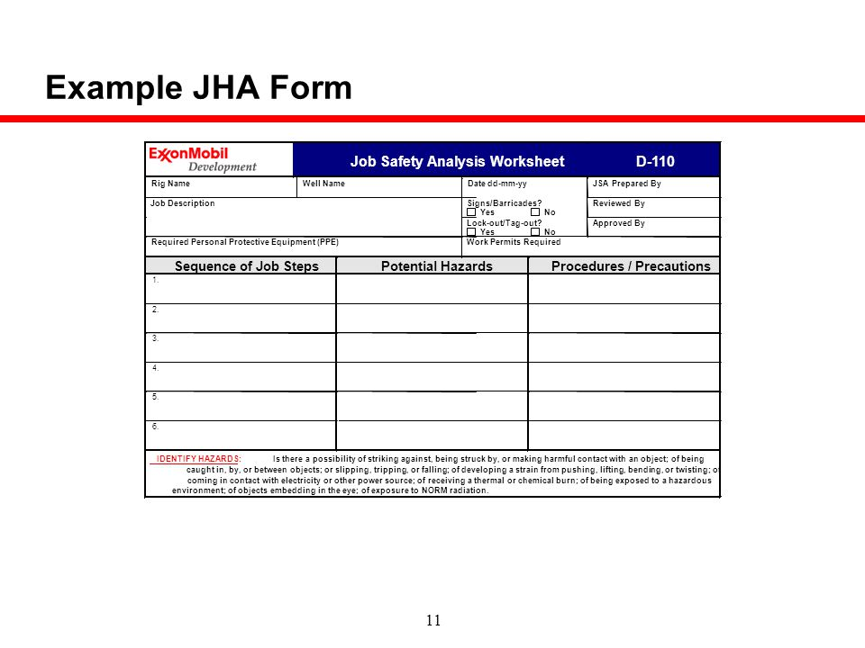 RiskHazard Management ppt download – Job Hazard Analysis Worksheet