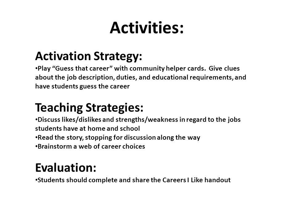 Activities: Activation Strategy: Teaching Strategies: Evaluation: