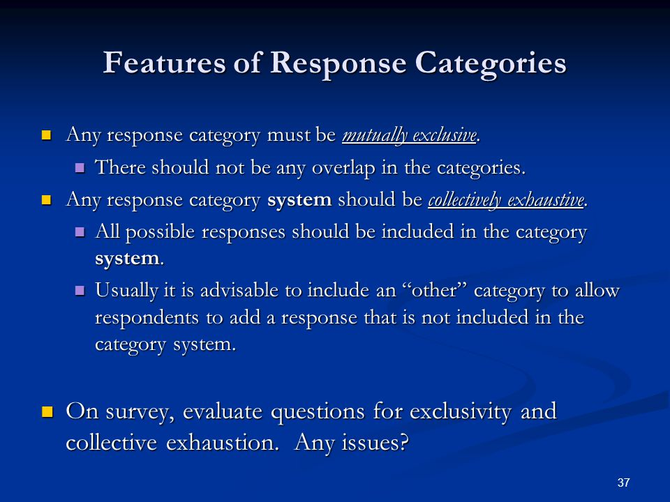 Features of Response Categories
