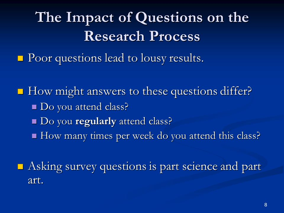 The Impact of Questions on the Research Process