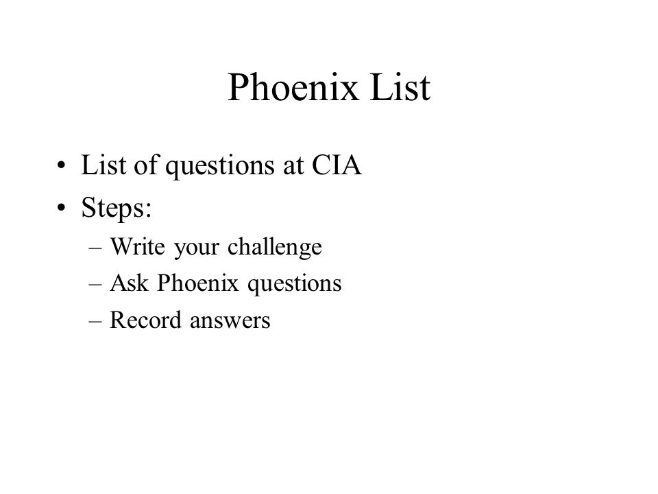Phoenix List List of questions at CIA Steps: Write your challenge