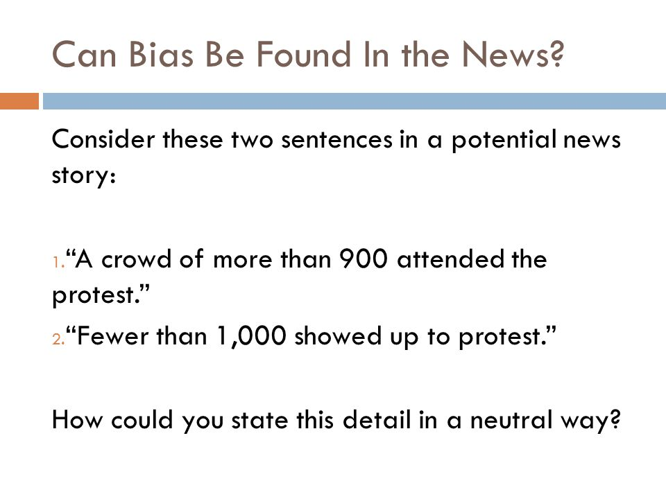 Can Bias Be Found In the News