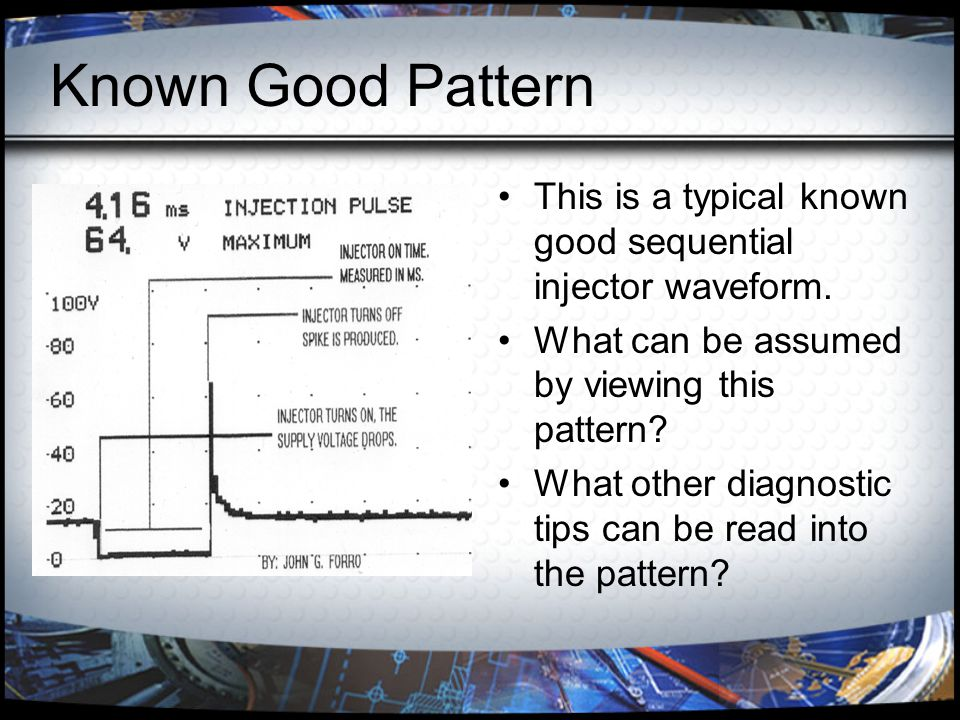 Known Good Pattern This is a typical known good sequential injector waveform. What can be assumed by viewing this pattern