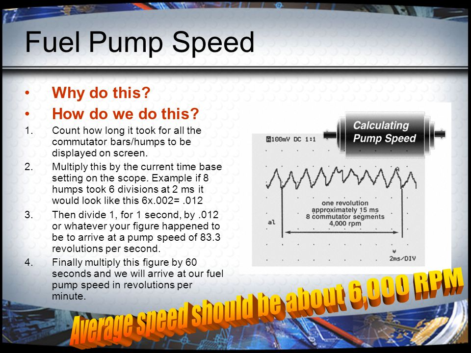 Average speed should be about 6,000 RPM
