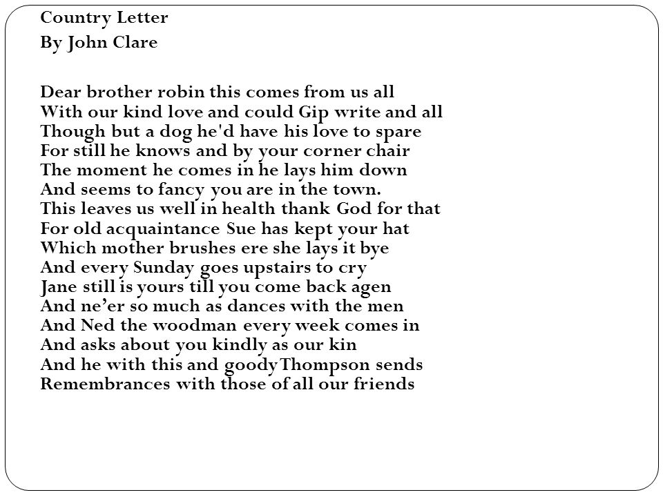 Country Letter By John Clare.