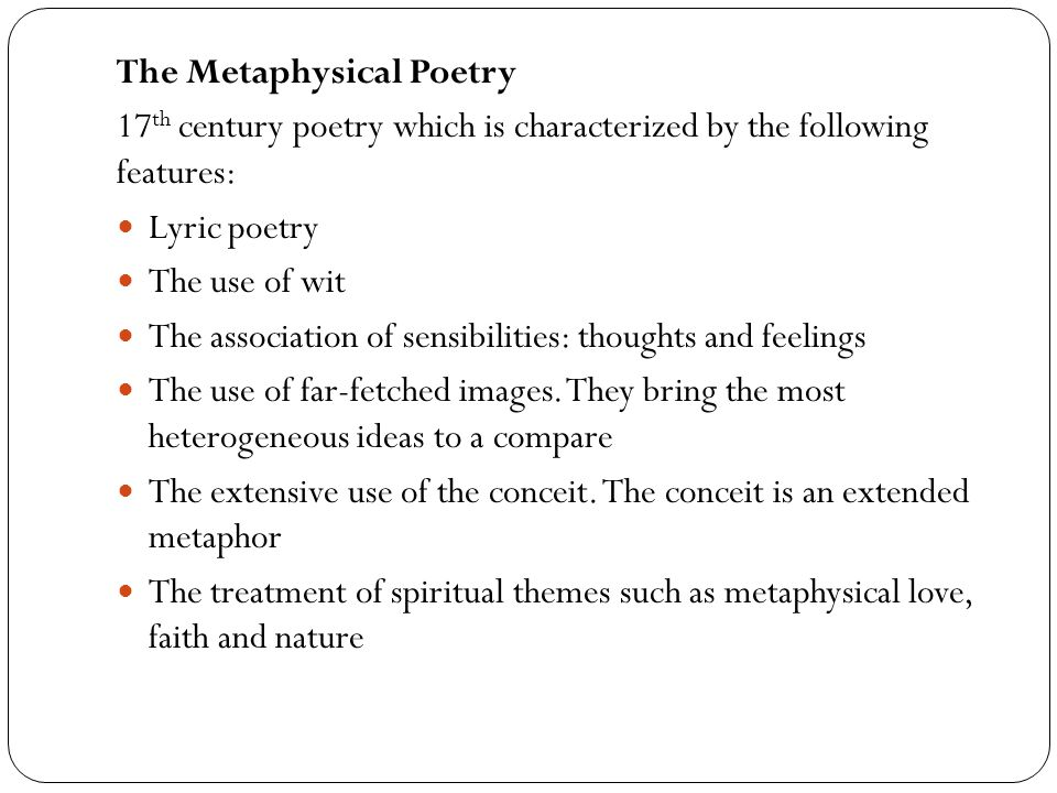 The Metaphysical Poetry