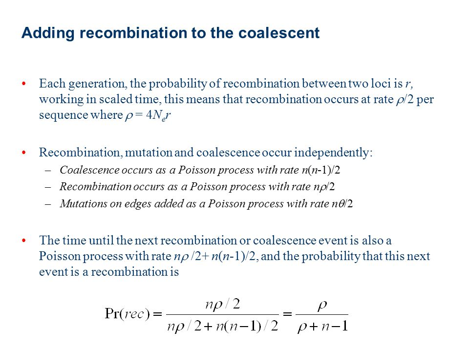 Adding recombination to the coalescent