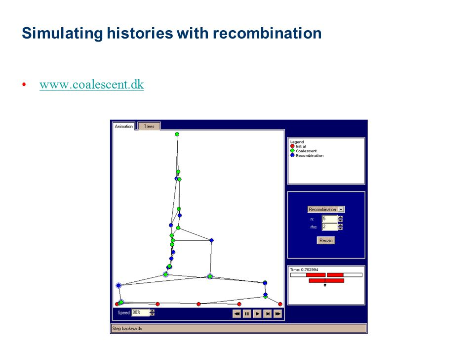 Simulating histories with recombination