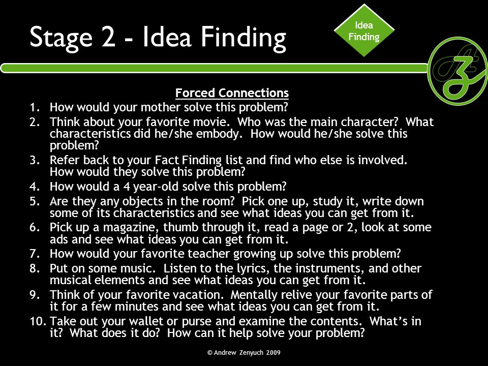 Stage 2 - Idea Finding Forced Connections