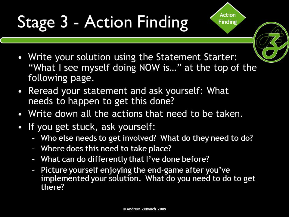 Action Finding. Stage 3 - Action Finding.