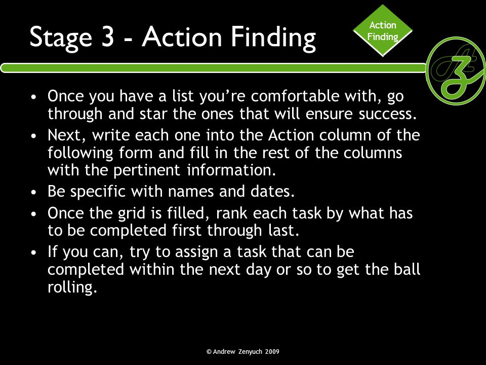 Action Finding. Stage 3 - Action Finding. Once you have a list you're comfortable with, go through and star the ones that will ensure success.