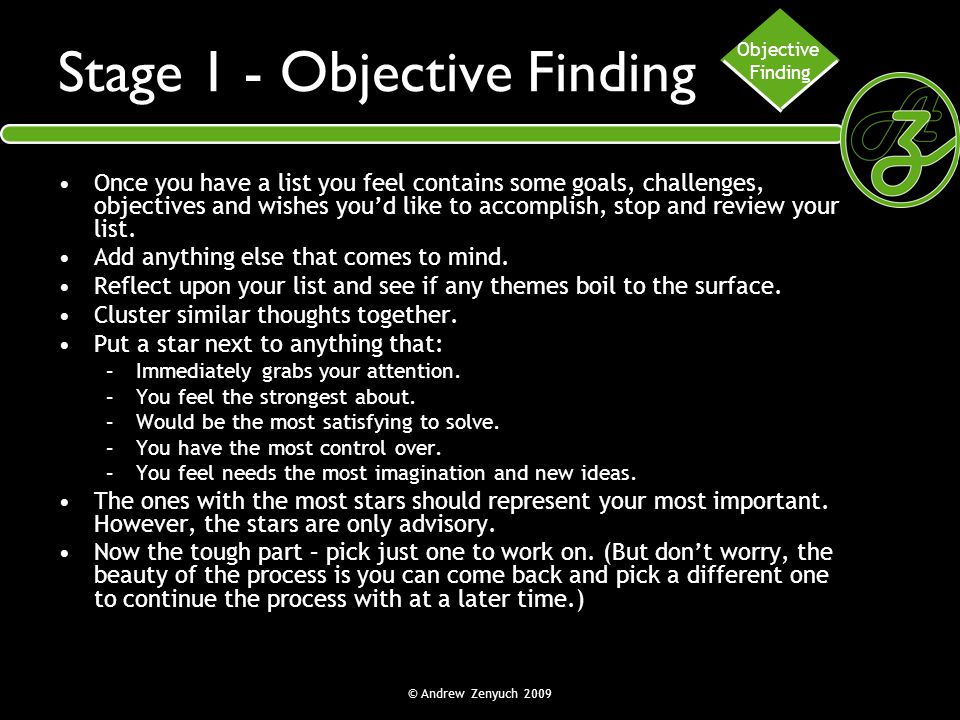 Stage 1 - Objective Finding