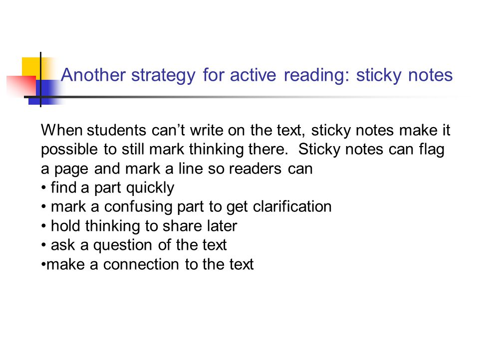 Another strategy for active reading: sticky notes