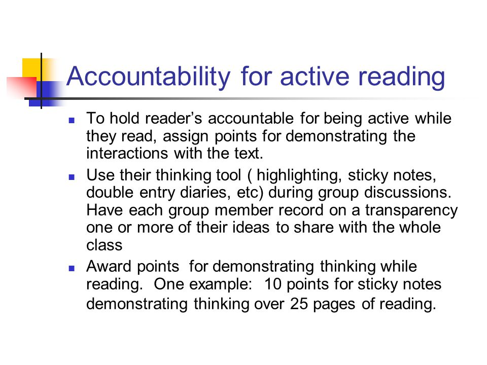 Accountability for active reading