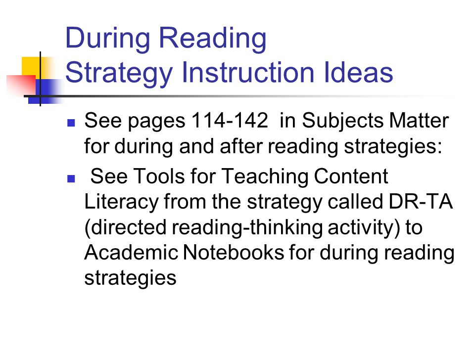 During Reading Strategy Instruction Ideas