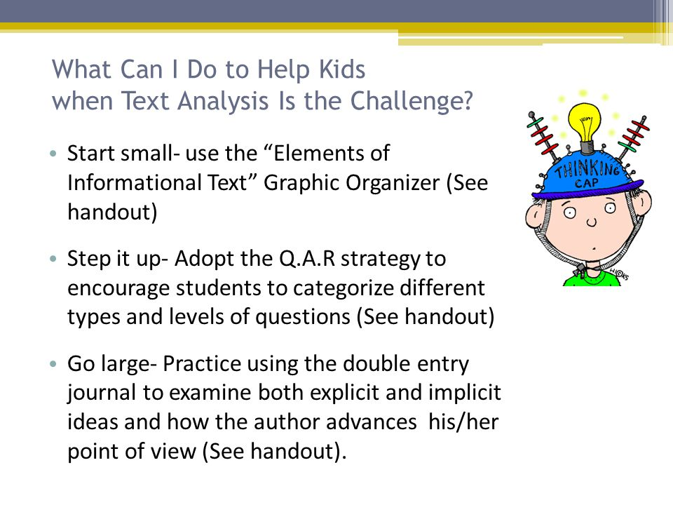 What Can I Do to Help Kids when Text Analysis Is the Challenge