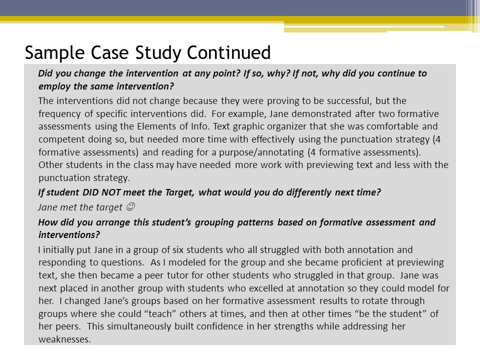 Sample Case Study Continued