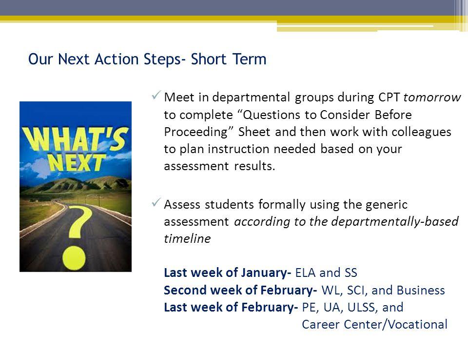 Our Next Action Steps- Short Term