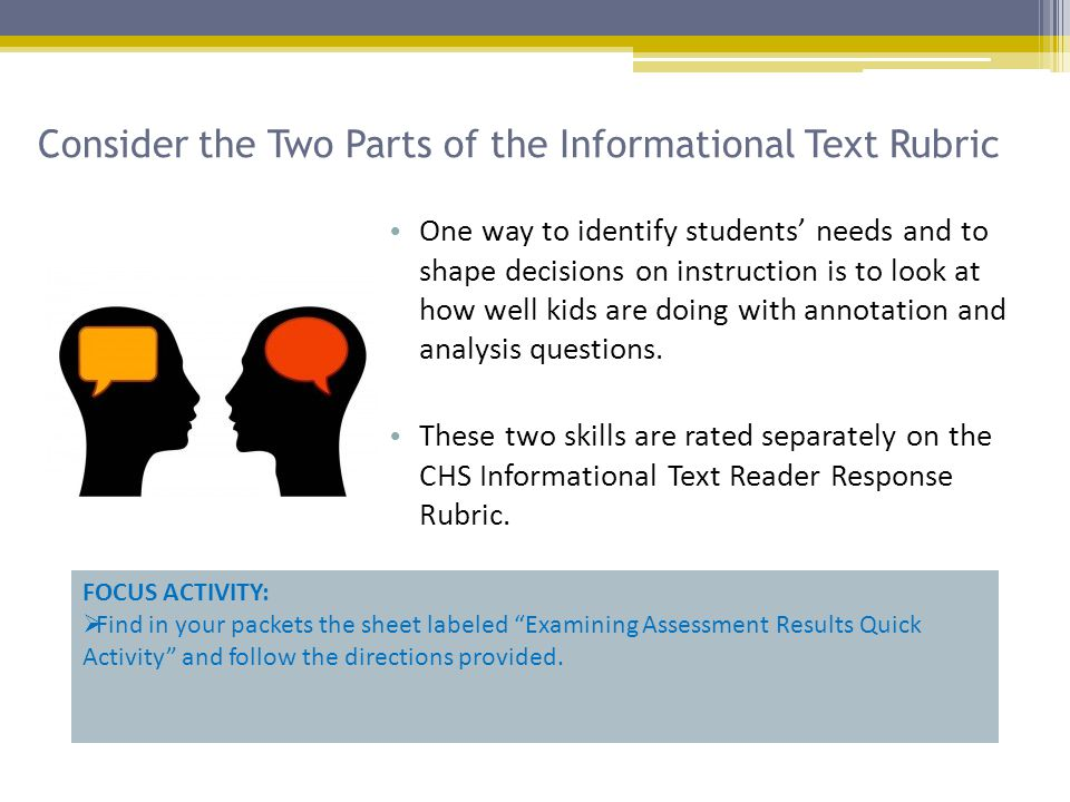 Consider the Two Parts of the Informational Text Rubric